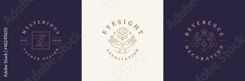 Fotografie, Tablou Magic logos emblems design templates set with mystic eye and female hands vector