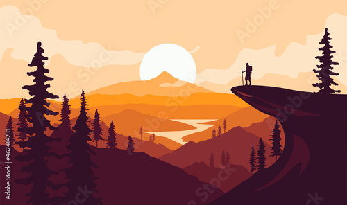 Foto Man with backpack, traveller or explorer standing on top of mountain or cliff and looking on valley