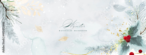 Photo Christmas watercolor natural art background and golden splash