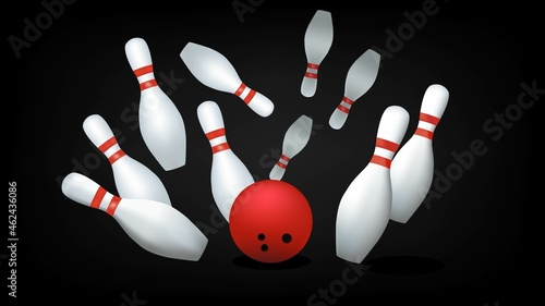 Fotografija Red bowling ball and skittles isolated on a black background