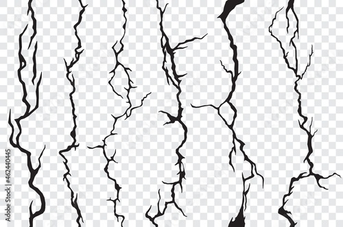 Seamless cracks in the wall, plaster or ground, transparent background Fototapet