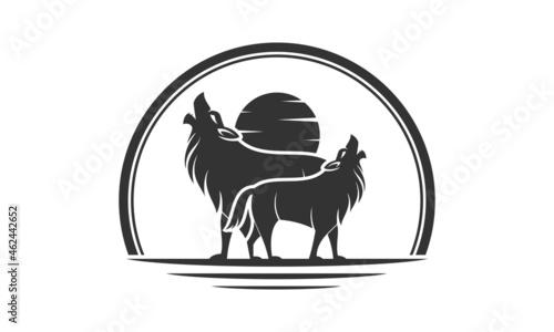 Fotografie, Tablou Wild wolf modern vector logo