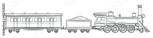 Wallpaper Mural Steam train - illustration of vintage locomotive with tender and railroad car