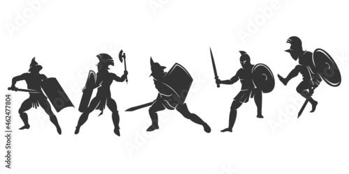 Fototapeta Set of silhouette spartan or gladiator fighter