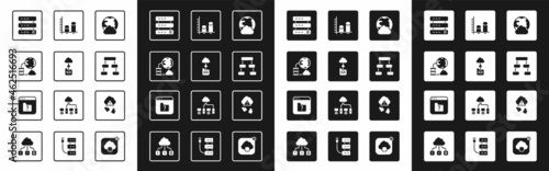 Fotografia Set Social network, Cloud technology data transfer, Network cloud connection, Server, Data, Web Hosting, Hierarchy organogram chart, analysis, hacking and File missing icon