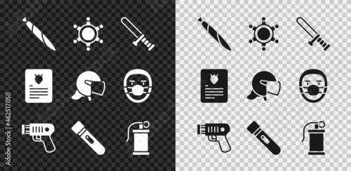 Slika na platnu Set Marijuana joint, Hexagram sheriff, Police rubber baton, electric shocker, Flashlight, Hand smoke grenade, The arrest warrant and helmet icon