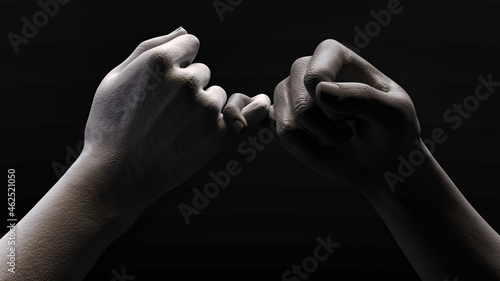 Photo 3D illustration of gray and white statue hands fiddling with each other's pinkies in a dark space