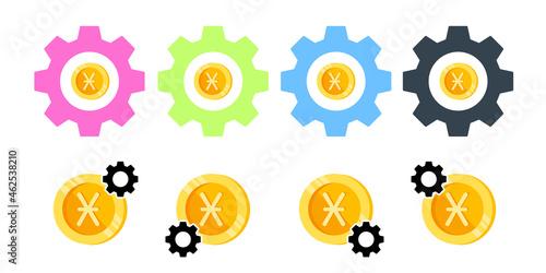 Fototapeta Denarius, coin, money color vector icon in gear set illustration for ui and ux,