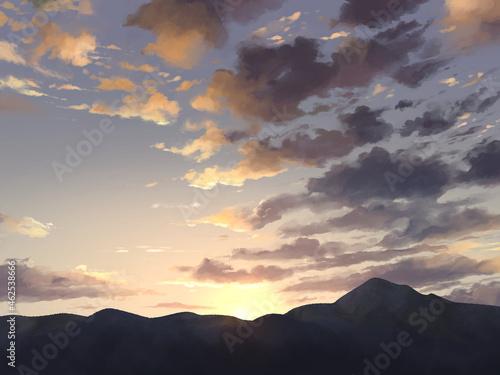 朝日,夜明け,空,雲,手描き Fotobehang