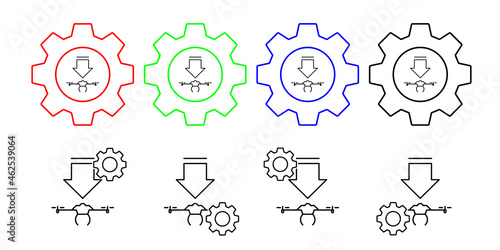 Wallpaper Mural The drone descends field outline vector icon in gear set illustration for ui and