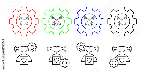 Canvas Print Drone with a parcel of love field outline vector icon in gear set illustration f