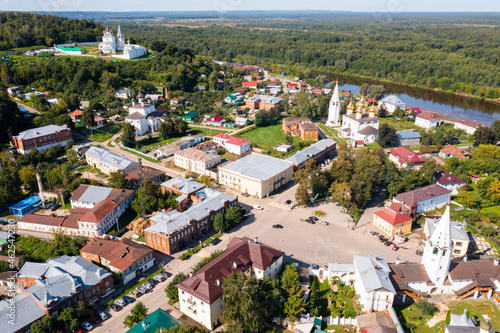 Photo Aerial view of cathedral of the Annunciation and Klyazma river