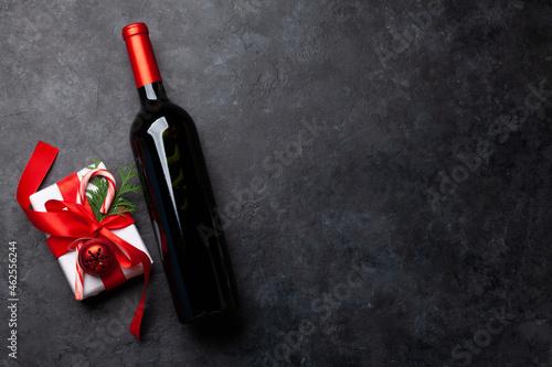 Christmas gift and wine