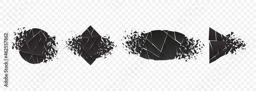 Obraz na plátně Shape explosion broken and shattered flat style design vector illustration set isolated on transparent background
