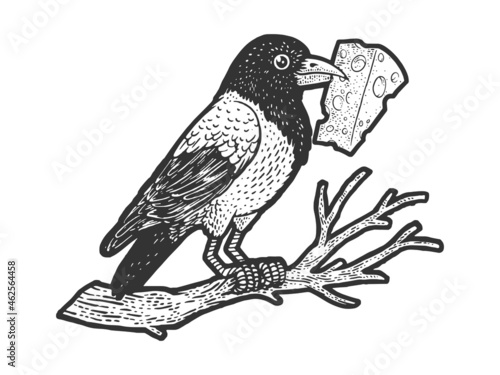 Photo fable crow with cheese in its beak sketch engraving vector illustration