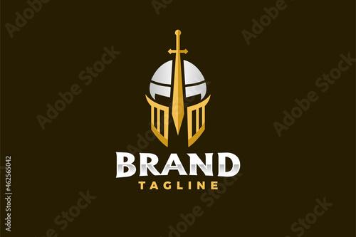 Fototapeta warrior sword helmet logo