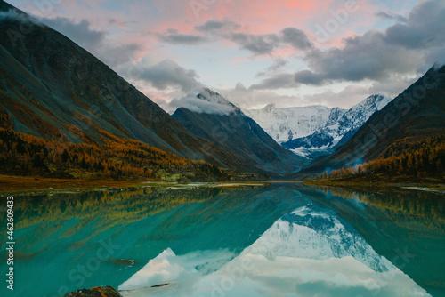 Obraz na plátně View from lake Akkem on mountain Belukha near board between Russia and Kazahstan