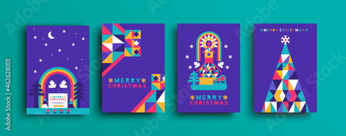 Photographie Merry Christmas colorful folk forest church set