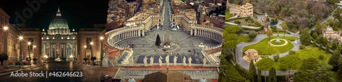 Foto Collage of Vatican City gardens, St. Peter's basilica and square