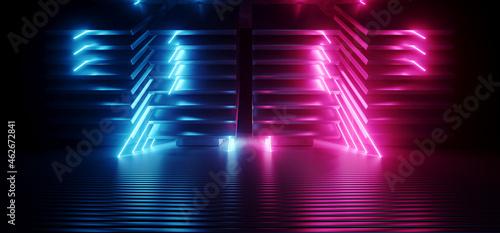 Fotografie, Obraz Neon Sci Fi Futuristic Alien Spaceship Modern Vibrant Purple Blue Glowing Laser