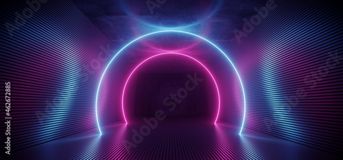 Neon Sci Fi Futuristic Alien Spaceship Modern Vibrant Purple Blue Oval Circle Glowing Laser Beams Hallway Corridor Retro  Dark Empty Podium Club Party 3D Rendering