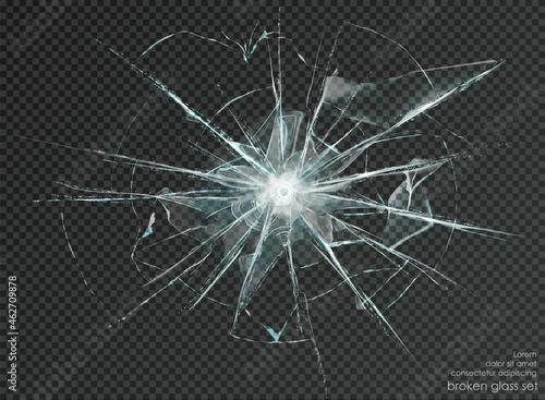 Obraz na plátne hole broken glass on transparent background