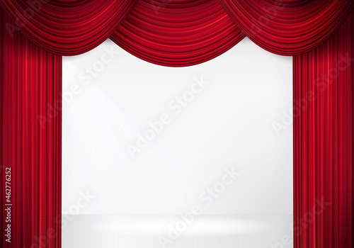Obraz na plátně Red stage curtain for theater, opera scene drape backdrop, concert grand opening