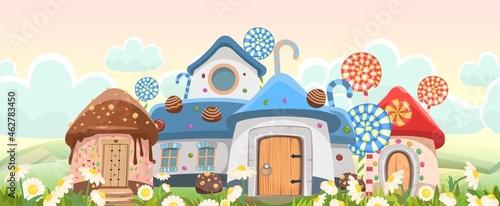 Obraz na plátně Candy hut among daisies