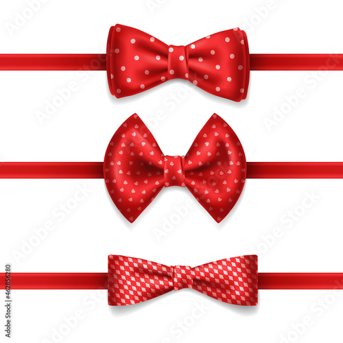 Fotografia Realistic red bow tie with white dots