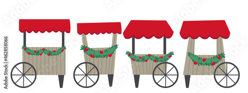Fotografie, Obraz Vector illustration isolated on white background set of Christmas market tent and stalls decorated with Christmas decor