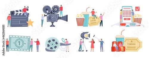 Fotografia Flat tiny characters recording, making and watching movies