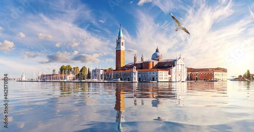 Tela San Giorgio Maggiore Island at sunset, Venice, Italy