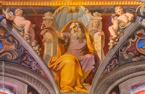 Obraz na plátně ROME, ITALY - AUGUST 28, 2021: The fresco of prophet Ezekiel in church San Girolamo dei Croati by  Pietro Gagliardi (1847-1852)