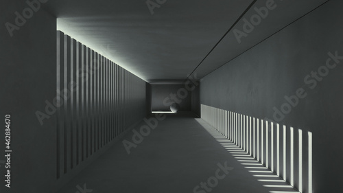 Obraz na plátně Сonceptual black and white corridor with strip lights from concrete 3d render