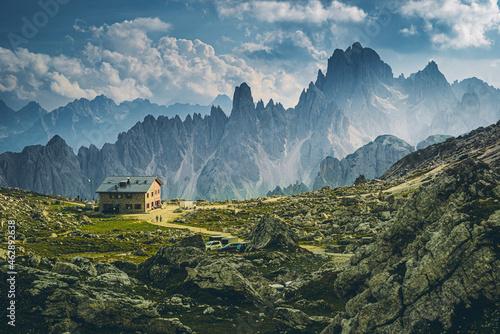 Rifugio, lavaredo, Tre Cime, Włochy, Dolomity