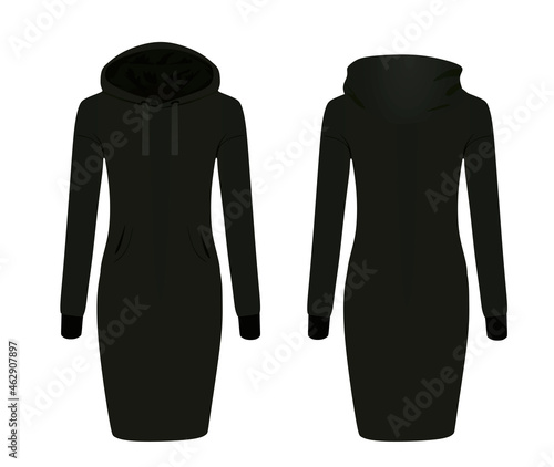 Canvas Black hoodie dress. vector illustration