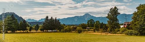 Beautiful alpine summer far view with the famous Landskron castle ruins on the left, Villach, Kaernten, Austria