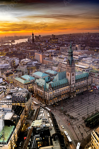 Canvas City hall of hamburg from above with sunset and evening atmosphere