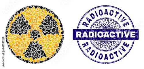 Wallpaper Mural Geometric mosaic radioactive, and Radioactive unclean stamp seal