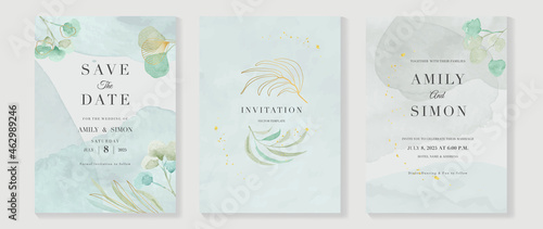 Tableau sur Toile Luxury wedding invitation card background  with golden line art flower and botanical leaves, Organic shapes, Watercolor
