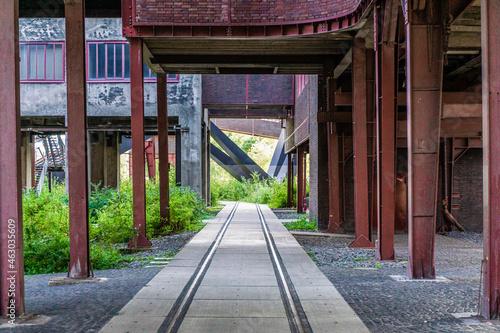 Fotografie, Obraz Old railway in Zeche Zollverein, Essen, Germany, Industrial area in old coal min