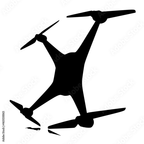 Canvas Print Vector silhouette of Drone on white background