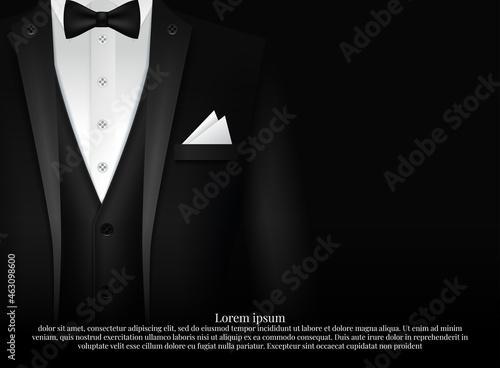 Murais de parede Black Suit and Tuxedo with bow tie