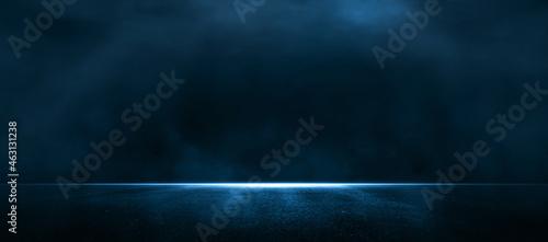 Obraz na plátně Asphalt blue dark street with smoke