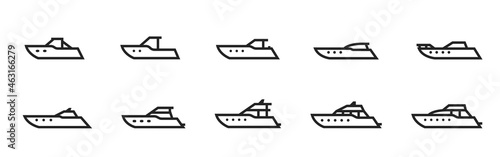 Fotografiet powerboat and yacht line icon set