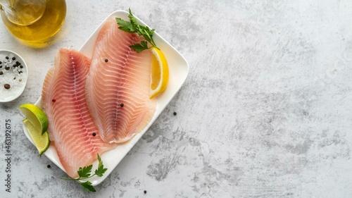 Fotografiet Flat lay delicious seafood arrangement