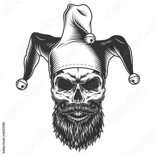 Fotografia, Obraz Skull in the jester hat