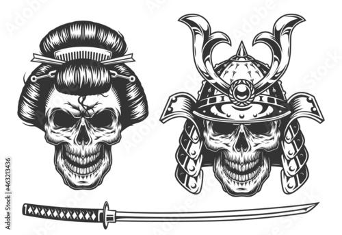 Fototapeta Geisha and samurai concept with skull