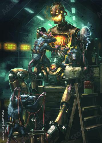 Canvas Print illustration of three mice making robots