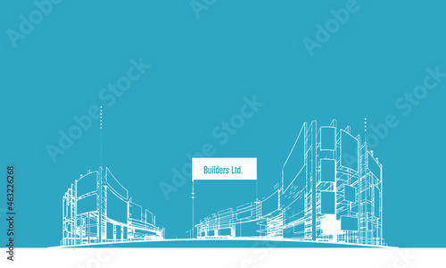 Canvastavla 3D illustration architecture building construction abstract background Line drawing